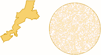 District and a circle that is about the same height and width side-by-side.
