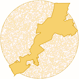 A district contained in a circle.